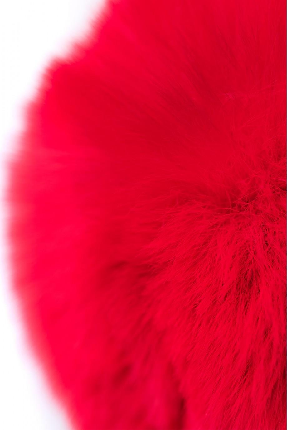 Анальная пробка TOYFA Metal с красным хвостиком, металл, серебристая, Ø 2,7 см