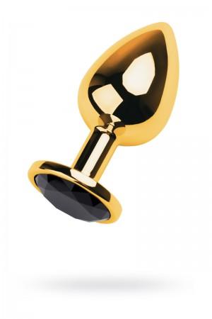 Анальная пробка Metal by TOYFA, металл, золотистая, с кристаллом цвета турмалин, 9,5 см, Ø 4 см, 145 г