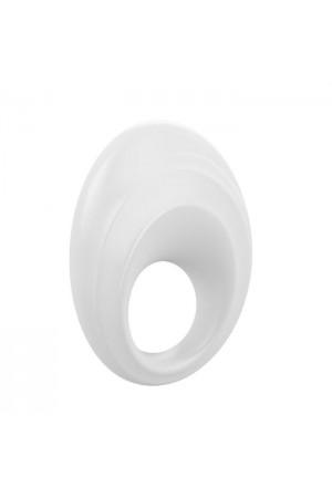 Эрекционное кольцо OVO закругленной стмулирующей формы с ультрасильной вибрацией, силиконовое, белое