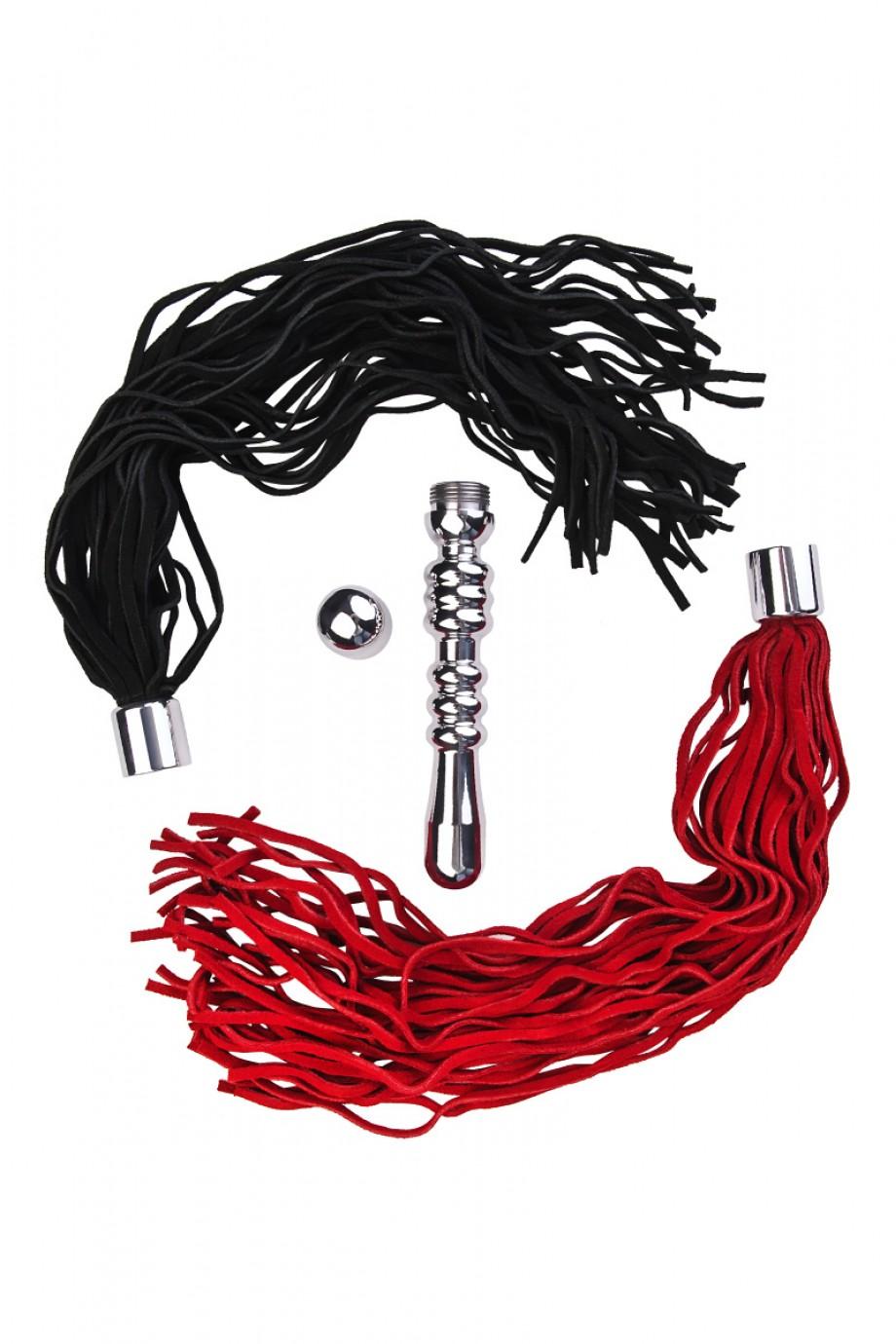 Анальная пробка TOYFA Metal, рельефная, серебристая, с двумя сменными плетками (черная+красная)