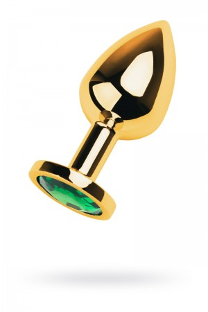 Анальная пробка Metal by TOYFA, металл, золотистый, с кристаллом цвета изумруд, 8 см, Ø 3,4 см, 85 г