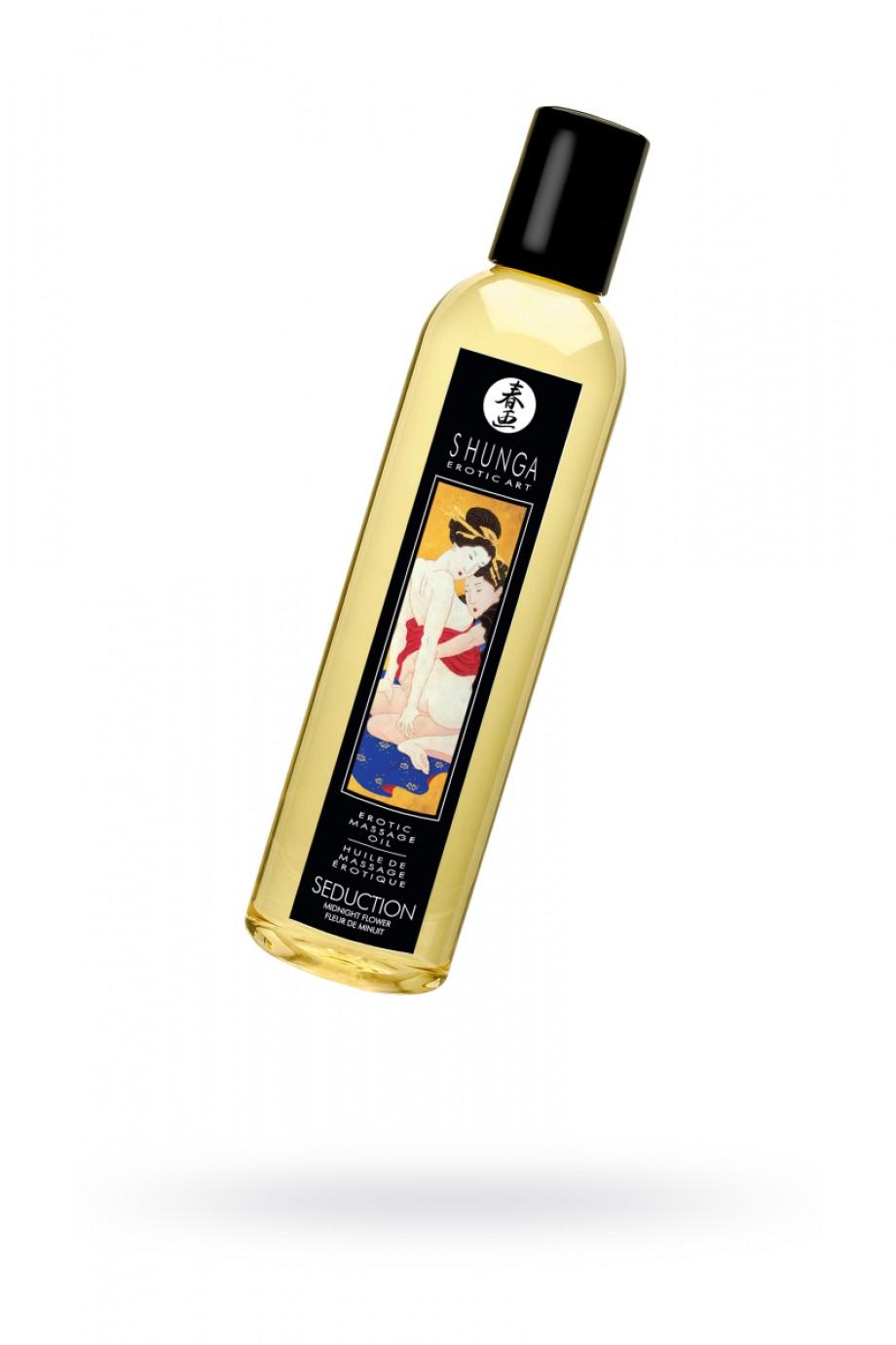 Масло для массажа Shunga Соблазн «Полночный цветок», натуральное, возбуждающее, с цветочным ароматом, 250 мл