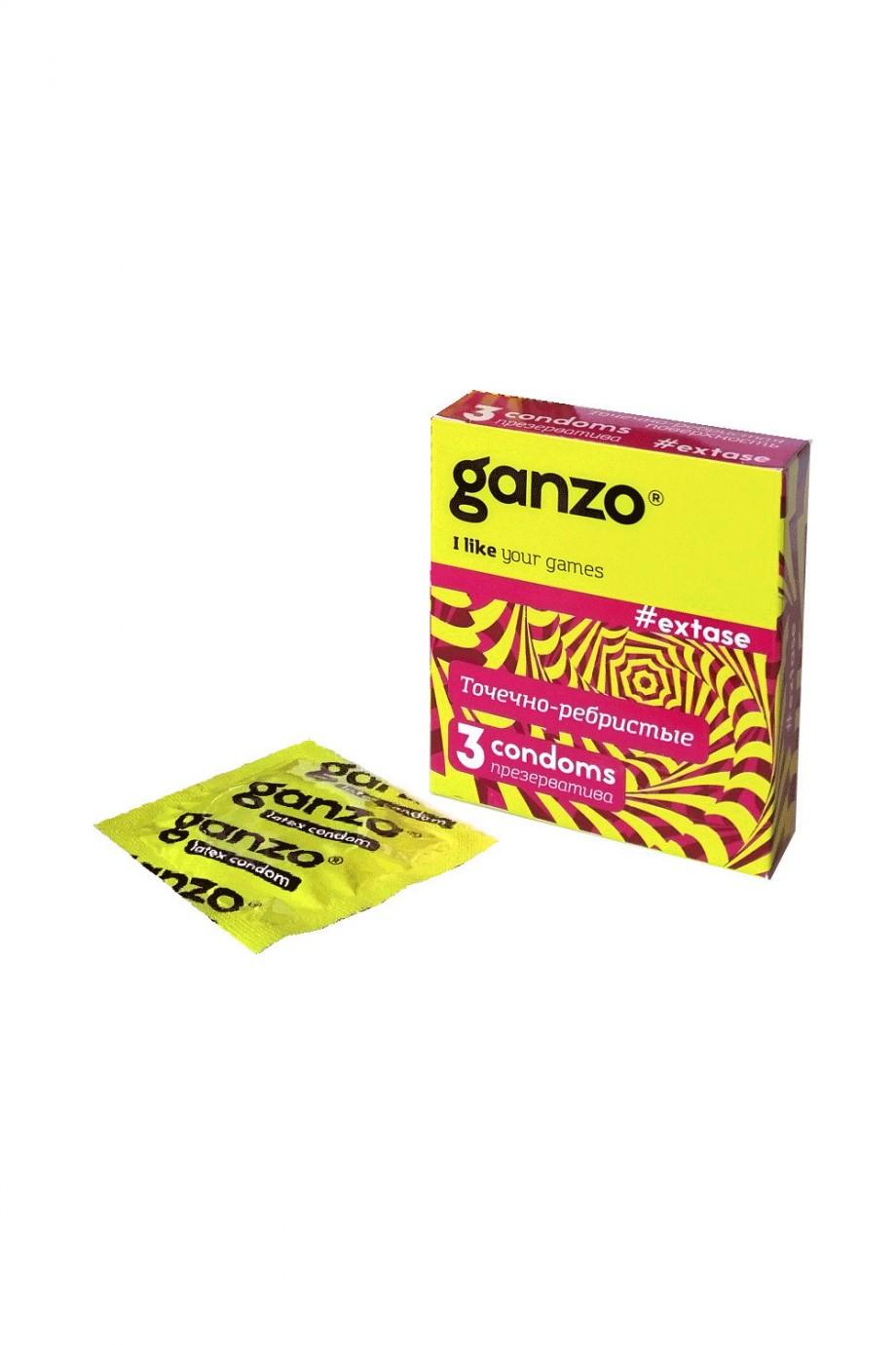 Презервативы Ganzo Extase, с точечно-ребристой поверхностью, 3 шт
