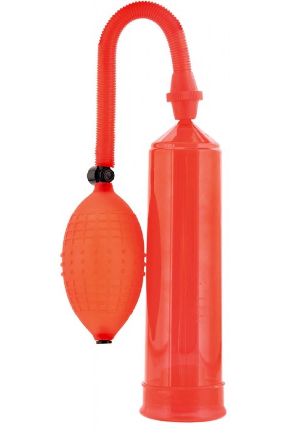 Вакуумная помпа Sexus Men, вакуумная, механическая, ABS пластик, красный, 23 см