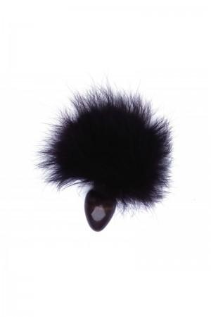 Анальная пробка с чёрным заячьим хвостом Ø 4 см