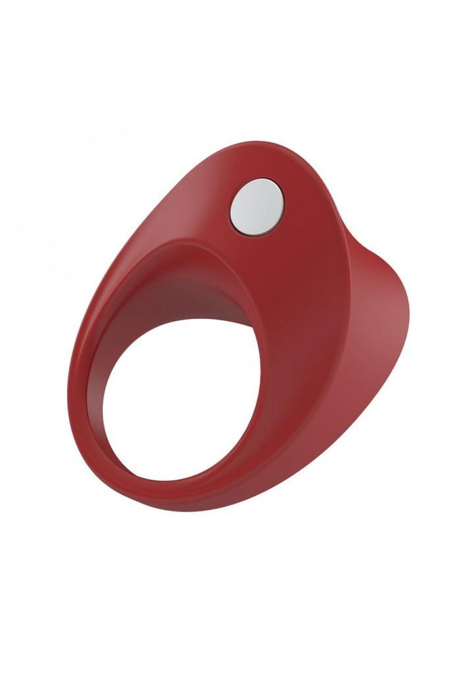 Эрекционное кольцо OVO закругленной формы с ультрасильной вибрацией, силиконовое, красное
