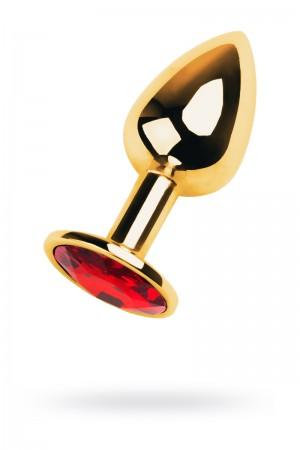 Анальная пробка Metal by TOYFA, металл, золотистый, с кристаллом цвета рубин, 7 см, Ø 2,8 см, 50 г