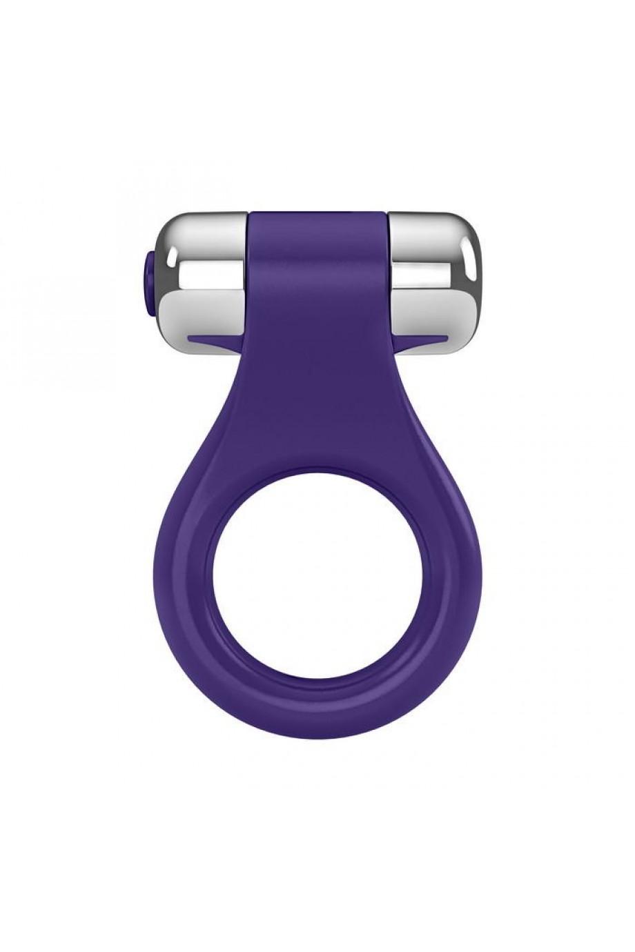 Эрекционное кольцо OVO в форме драгоценного изделия с вибрацией, силиконовое, ежевичное