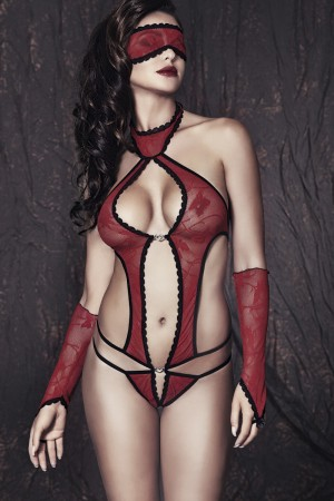 Боди, маска и перчатки Anais Ashley, красно-черный, L