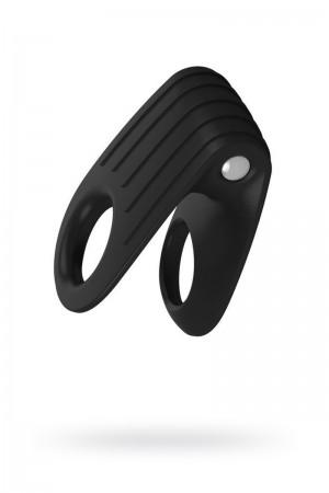 Эрекционное кольцо OVO двойное, инновационной формы с вибрацией, силиконовое, черное