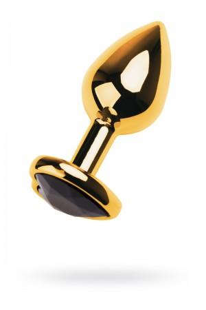 Анальная пробка Metal by TOYFA, металл, золотистая, с кристаллом цвета турмалин, 9,5 см, Ø 4 см, 150 г