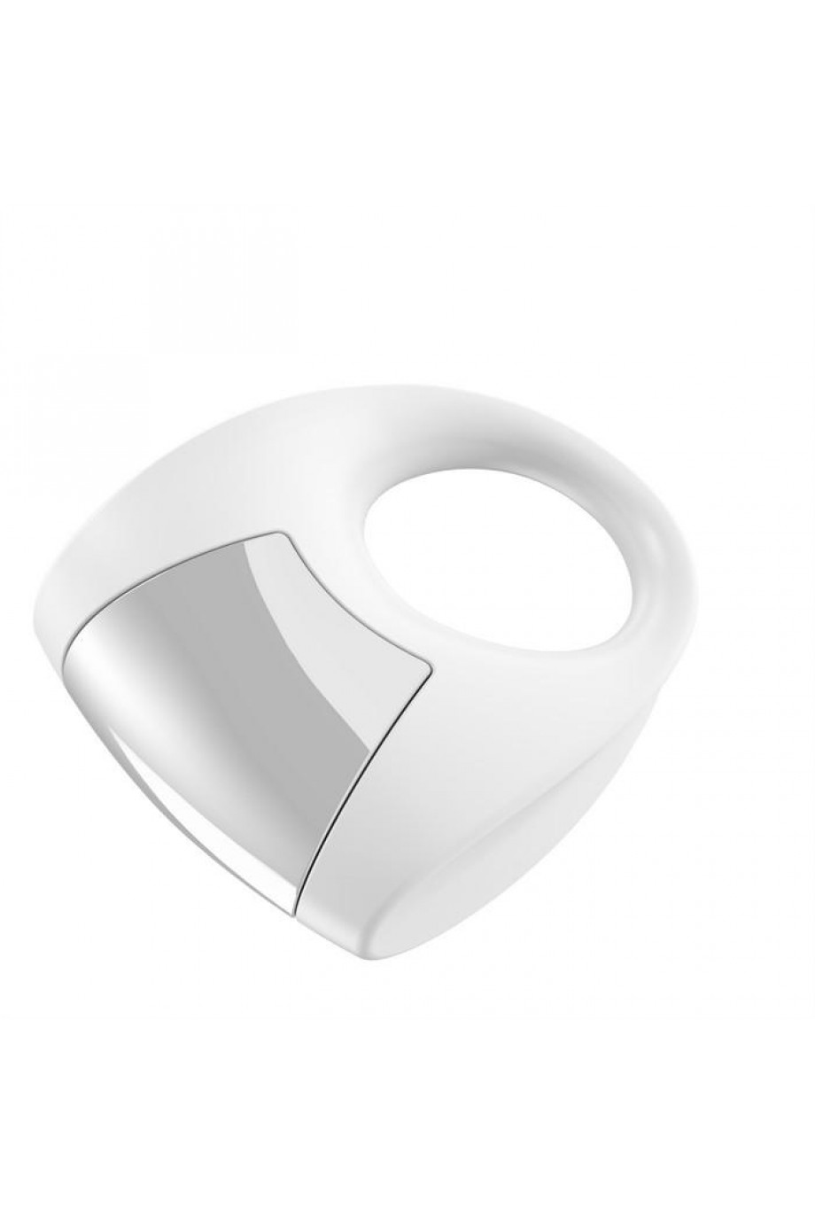 Эрекционное кольцо OVO с удобной кнопкой включения и сильной вибрацией, силиконовое, белое