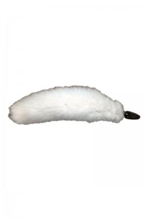 Анальная пробка с белым лисьим хвостом Ø 4 см