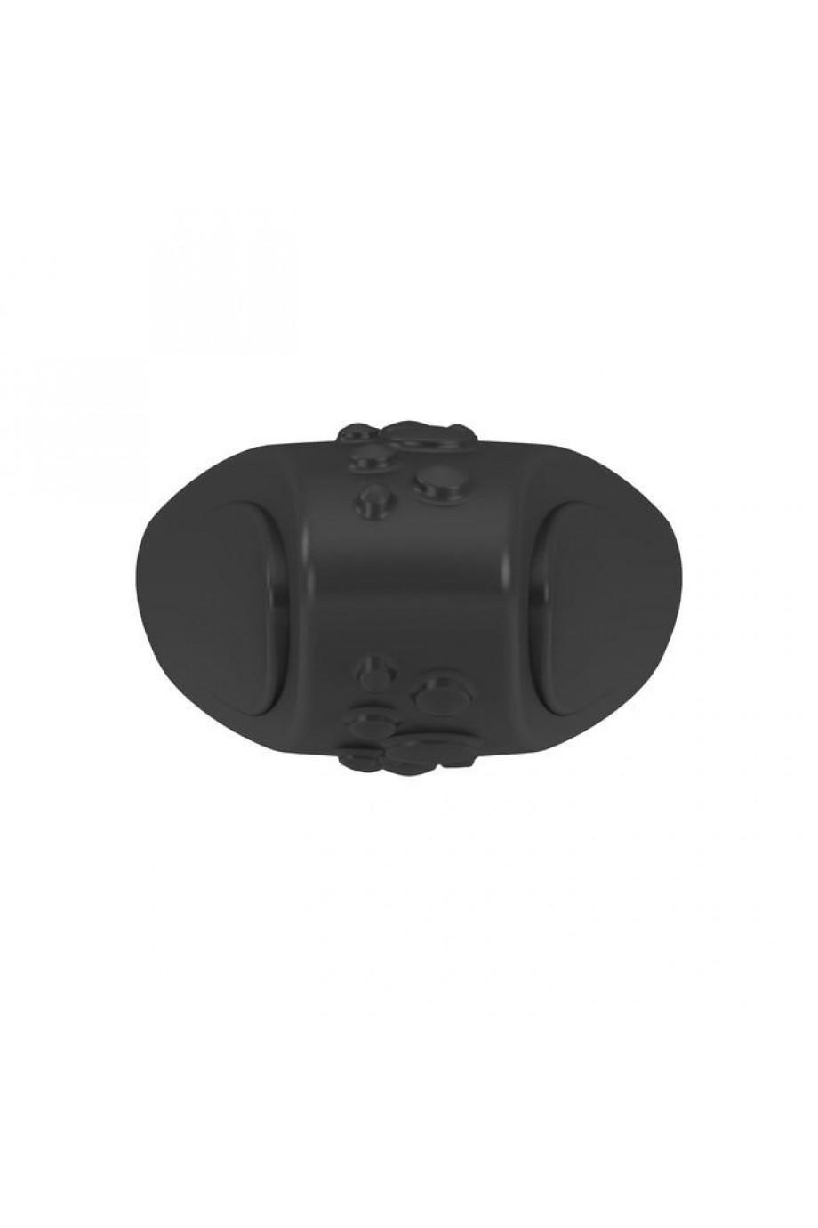 Эрекционное кольцо OVO с ультрасильной вибрацией и рельефным элементом для клиторальной стимуляции, силиконовое, черное