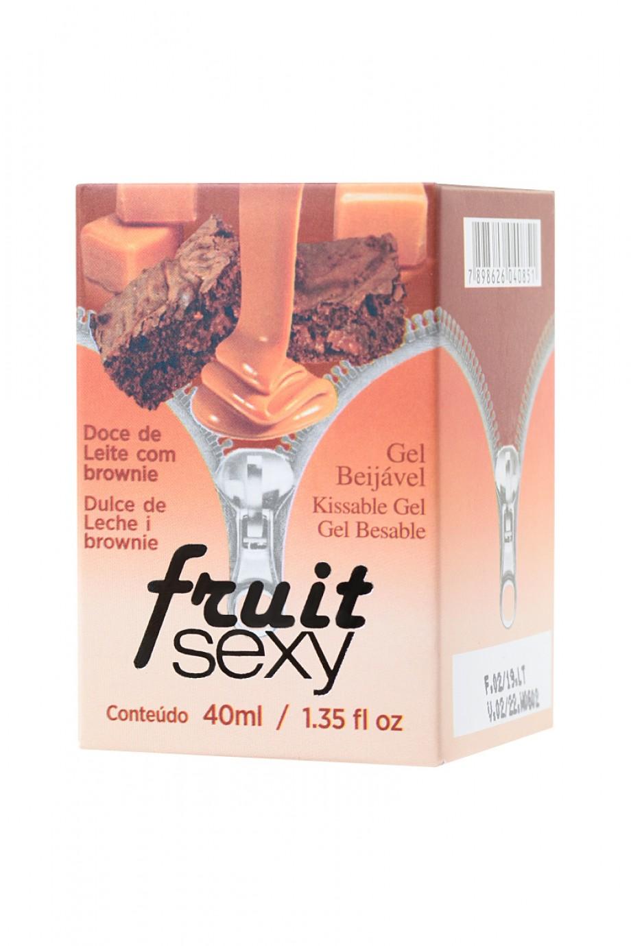 Массажное масло для поцелуев INTT FRUIT SEXY Dulce de leche and brownie с разогревающим эффектом и ароматом сладкого брауни, 40 мл