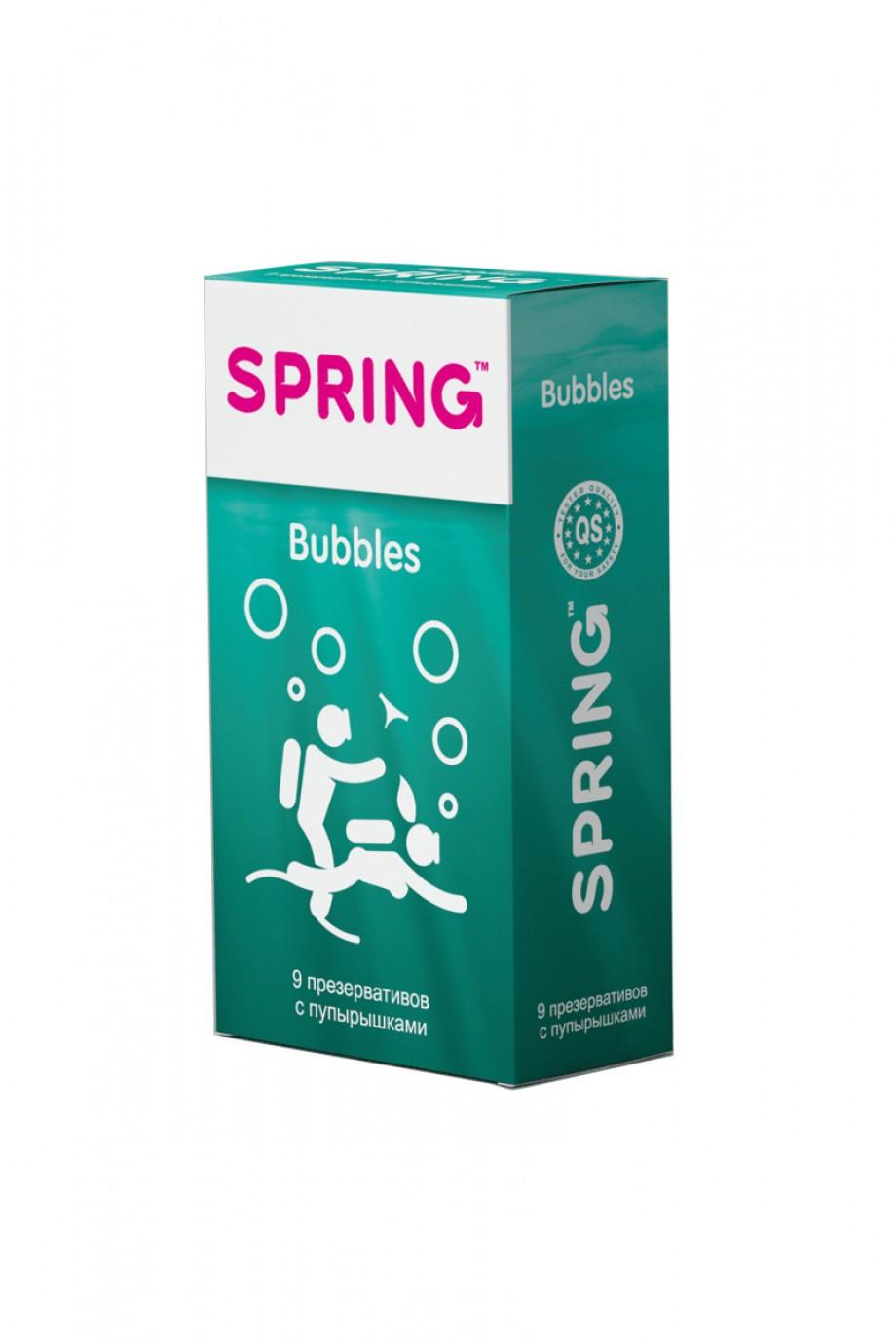 Презервативы Spring Bubbles, с точечной поверхностью, 9 шт