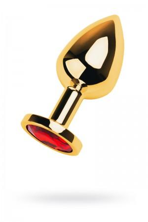 Анальная пробка Metal by TOYFA, металл, золотистый, с кристаллом цвета рубин, 8 см, Ø 3,4 см, 85 г