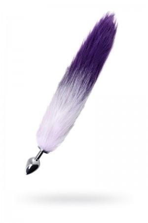 Анальная пробка Metal by TOYFA с бело-фиолетовым хвостом, металл, серебристый, 45 см, Ø 3,3 см