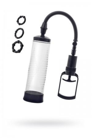 Вакуумная помпа Sexus Men Erection, вакуумная, механическая, ABS пластик, черный, 23 см