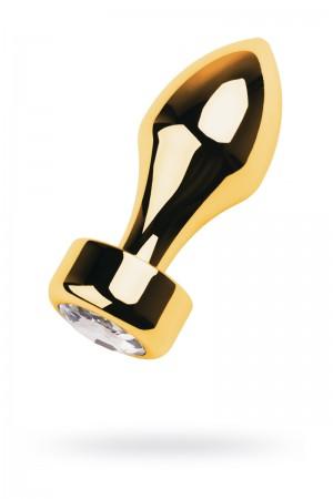 Анальная пробка Metal by TOYFA, металл, золотистая, с кристаллом цвета алмаз, 10,8 см, Ø 4 см, 195 г