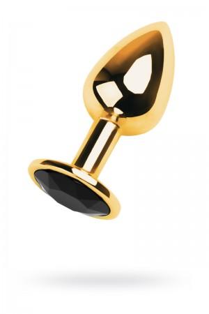 Анальная пробка Metal by TOYFA, металл, золотистый, с кристаллом цвета турмалин, 7 см, Ø 2,8 см, 50 г