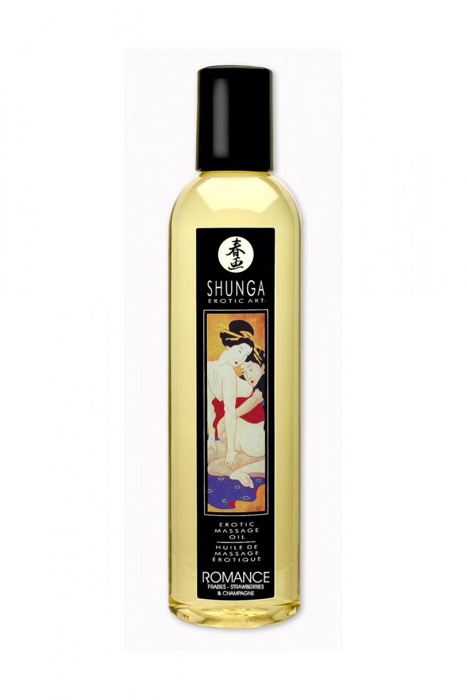 Масло для массажа Shunga Романс «Клубника и шампанское», натуральное, возбуждающее, с клубничным ароматом, 250 мл