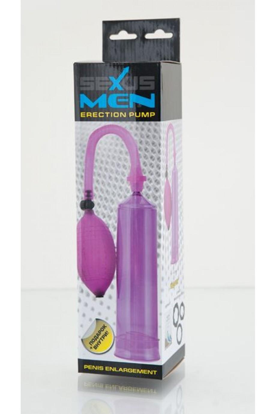 Вакуумная помпа Sexus Men, вакуумнаяб механическая, ABS пластик, фиолетовый, 23 см