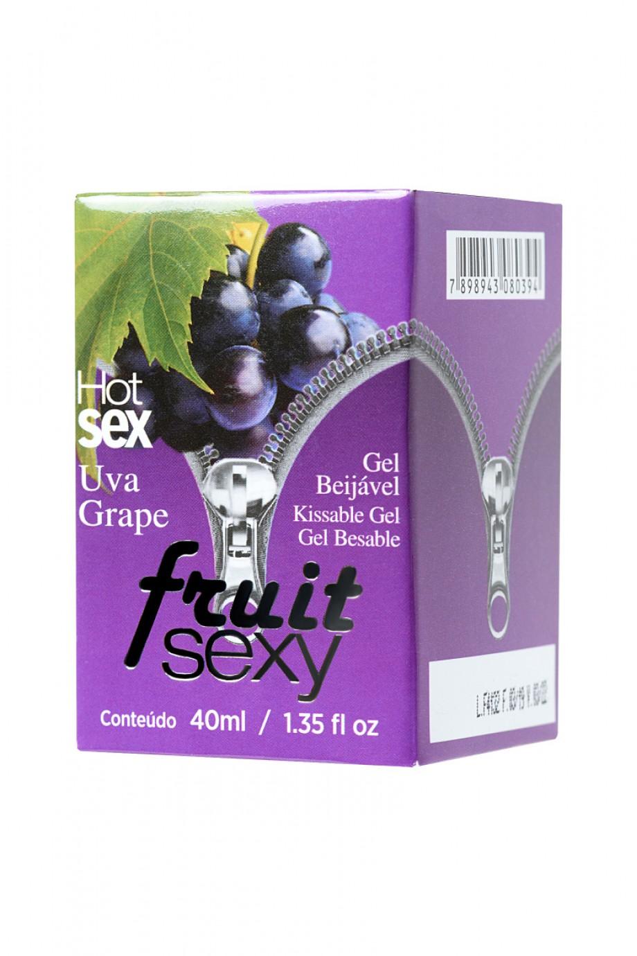 Массажное масло для поцелуев INTT FRUIT SEXY Grape с разогревающим эффектом и ароматом винограда, 40 мл