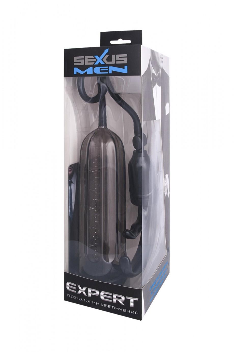 Вакуумная помпа Sexus Men Expert, вакуумная, механическая, ABS пластик, чёрная, 25 см