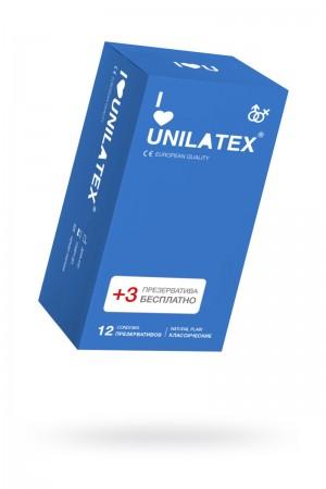Презервативы Unilatex Natural Plain, 12 шт+3, гладкие