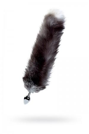 Анальная пробка с чернобурым лисьим хвостом, металл, Ø 3,4 см