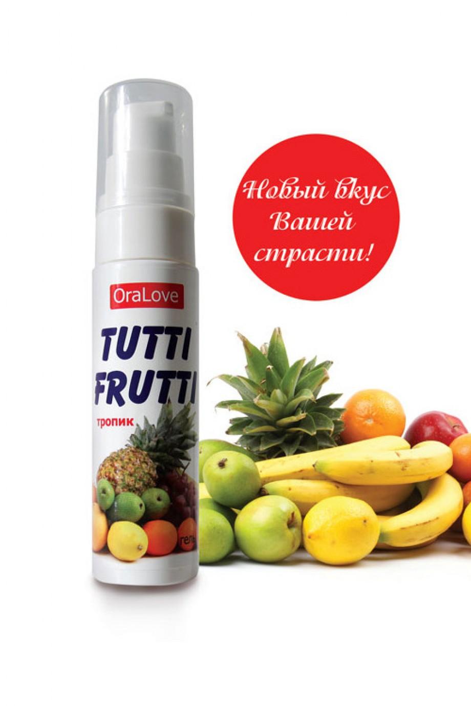 Съедобная гель-смазка TUTTI-FRUTTI для орального секса со вкусом экзотических фруктов, 30 г
