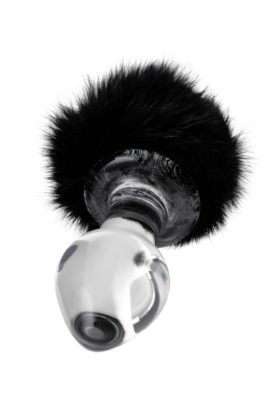 Анальная пробка Sexus Glass, Стекло, с черным хвостиком, 9,5 см