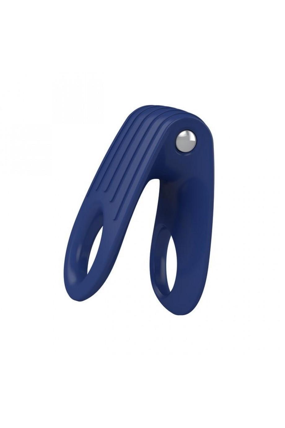 Эрекционное кольцо OVO двойное, инновационной формы с вибрацией, силиконовое, синее