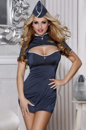 Костюм пилота Candy Girl Jezebel (платье, стринги, головной убор), синий, XL