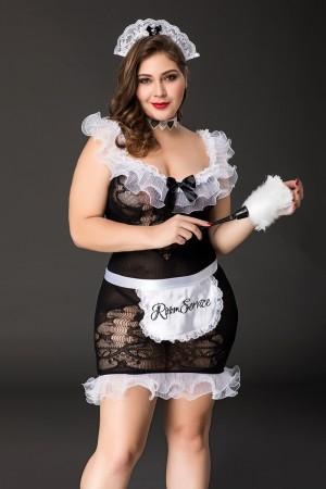 Костюм горничной Candy Girl Fanny (платье, ободок, чокер, фартук,метелка) черно-белый, 2XL