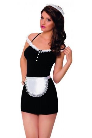 Костюм горничной SoftLine Collection Jane (платье, передник и головной убор), черный, M/L