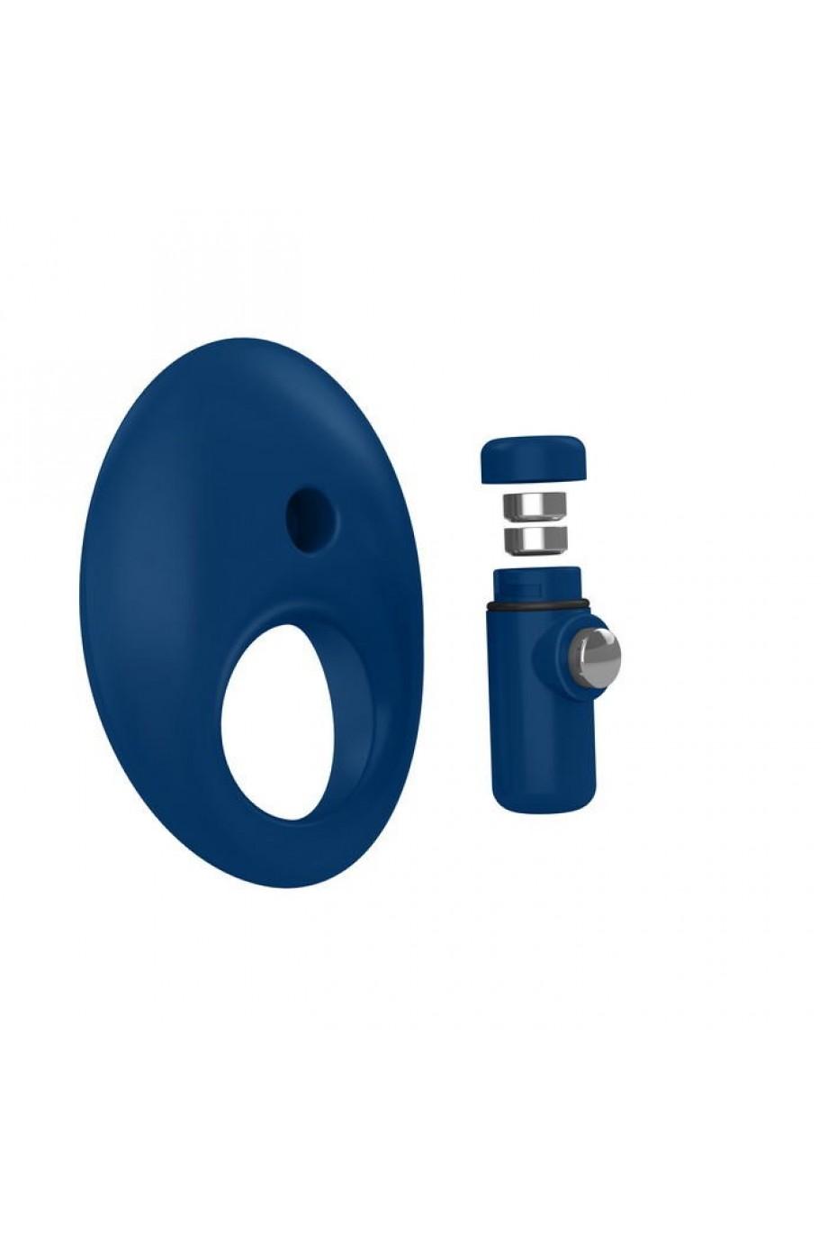 Эрекционное кольцо OVO закругленной стмулирующей формы с ультрасильной вибрацией, силиконовое, синее