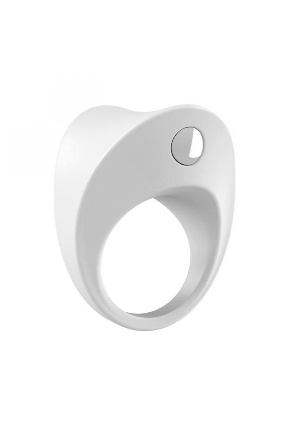 Эрекционное кольцо OVO закругленной формы с ультрасильной вибрацией, силиконовое, белое