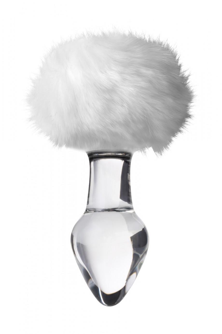 Анальная пробка Sexus Glass, стекло, с белым хвостиком, Ø 4 см
