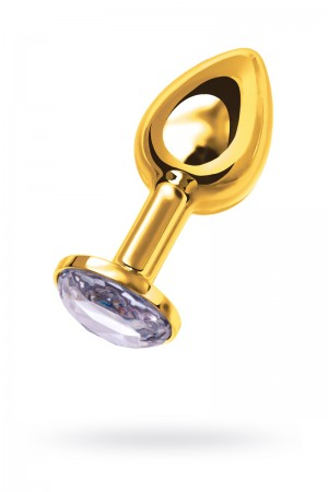Анальная пробка Metal by TOYFA, металл, золотистая, с белым кристаллом, 7,5 см, Ø 3 см, 145 г