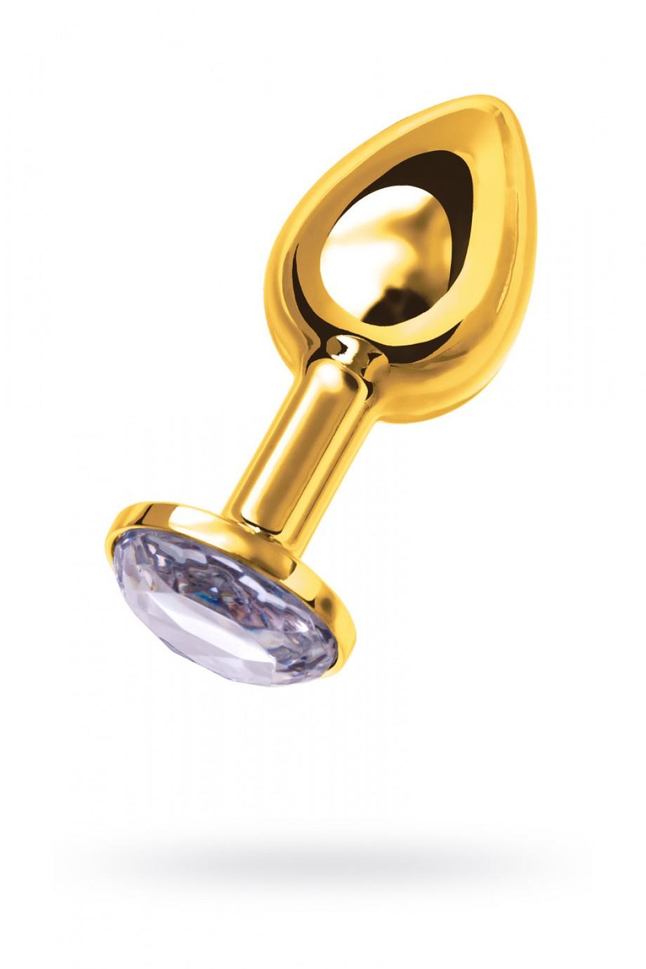 Анальная пробка Metal by TOYFA, металл, золотистая, с белым кристаллом, Ø 3 см