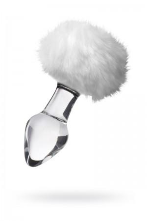 Анальная пробка Sexus Glass, Стекло, с белым хвостиком, 9,5 см, Ø4 см