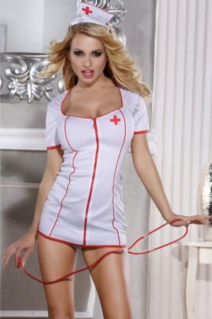 Костюм медсестры Candy Girl Angel (платье, стринги, головной убор, стетоскоп), белый, OS