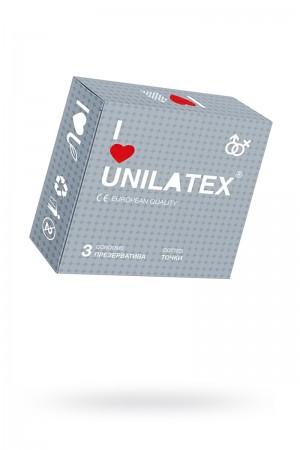 Презервативы Unilatex Dotted, 3 шт, с точками