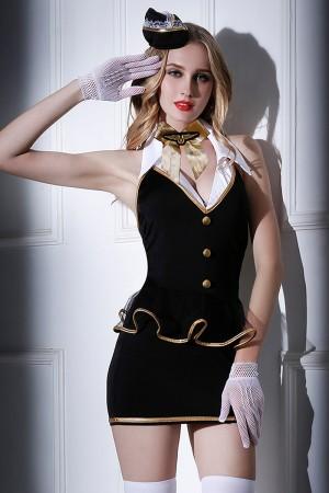 Костюм стюардессы Candy Girl Amber (платье, трусы, перчатки, чулки, галстук, ободок), черно-белый, OS