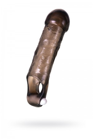 Насадка ToyFa XLover, для увеличения размера с вибрацией, черная прозрачная, 15,5 см