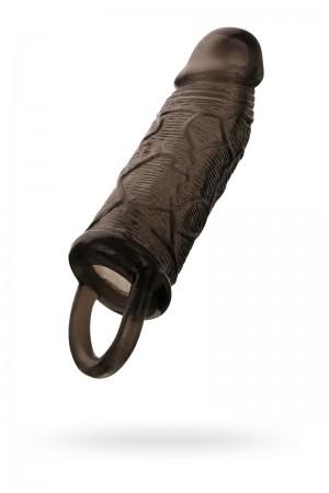 Насадка Toyfa XLover, для увеличения размера с кольцом, черная прозрачная, 14,5 см