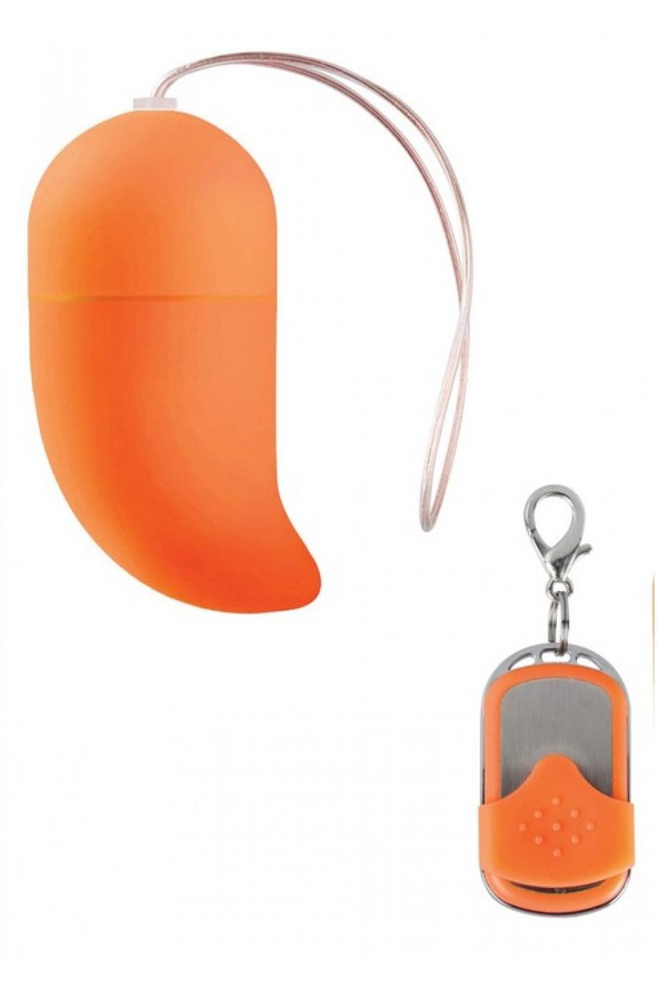 Виброяйцо Vibrating G-spot Egg medium оранжевое с пультом ДУ