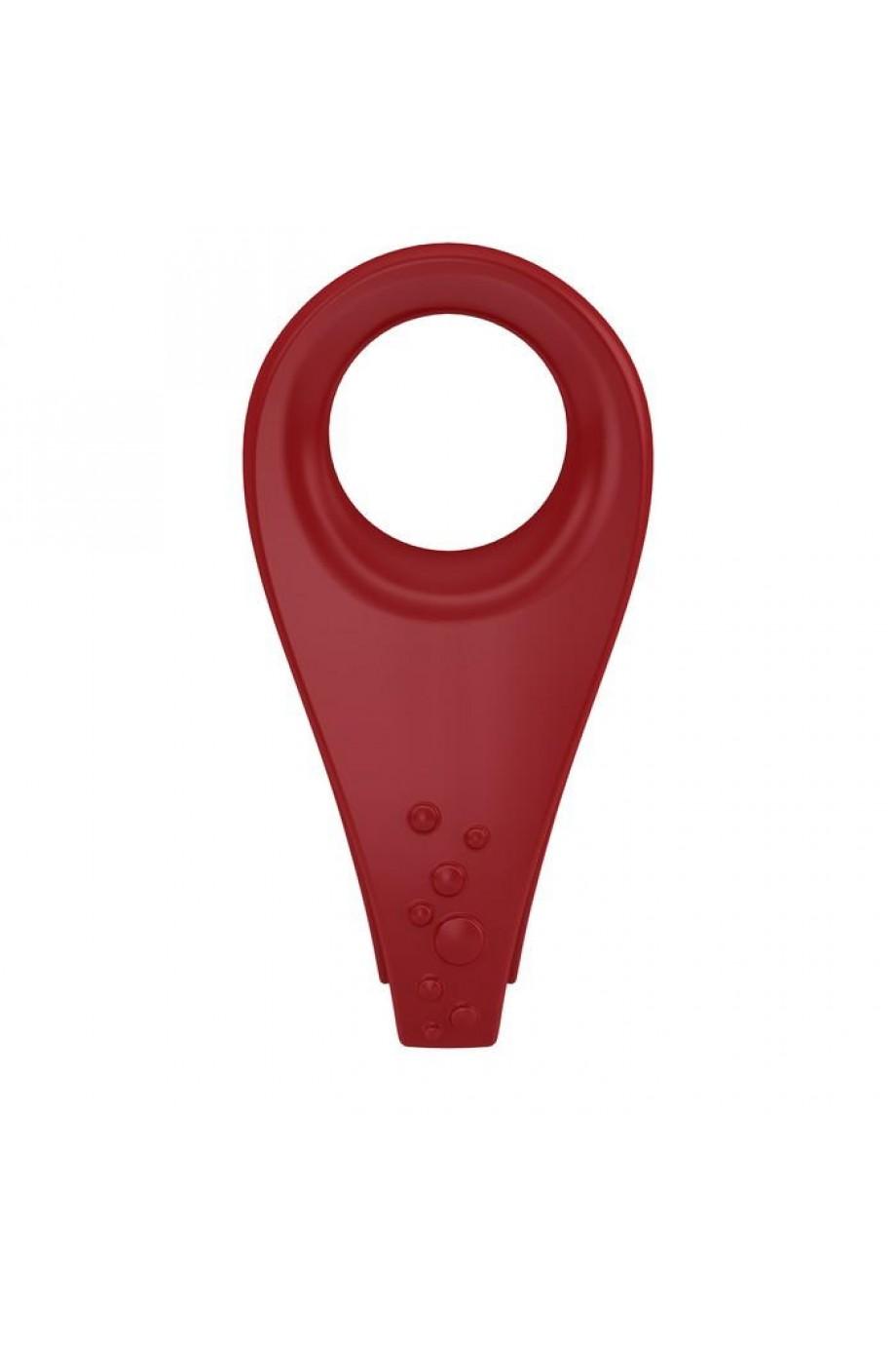 Эрекционное кольцо OVO с ультрасильной вибрацией и рельефным элементом для клиторальной стимуляции, силиконовое, красное